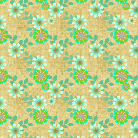 Textured floral in green and beige fabric by joanmclemore on Spoonflower - custom fabric