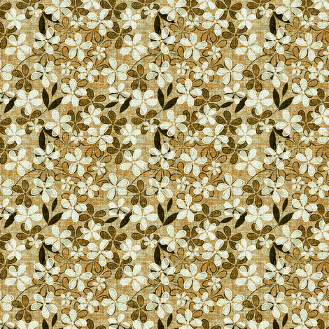 Floral on Linen in beige fabric by joanmclemore on Spoonflower - custom fabric