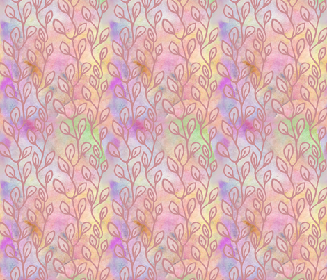 Continuous leaf pattern - rose on colorful background fabric by martaharvey on Spoonflower - custom fabric