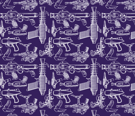 Ray Gun Revival (Dark Purple) (8x8) fabric by studiofibonacci on Spoonflower - custom fabric