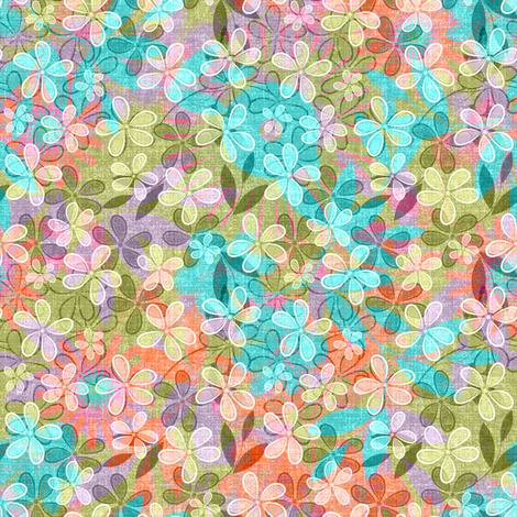 Vintage Floral Meadow fabric by joanmclemore on Spoonflower - custom fabric