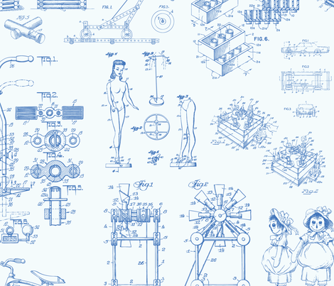 Patent Drawings - Toys (blue) fabric by studiofibonacci on Spoonflower - custom fabric