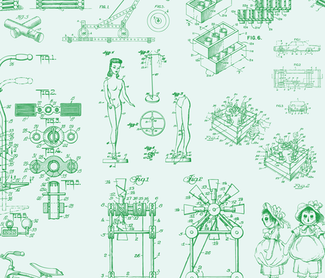 Patent Drawings - Toys (green) fabric by studiofibonacci on Spoonflower - custom fabric