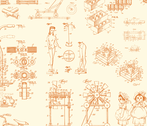 Patent Drawings - Toys (orange) fabric by studiofibonacci on Spoonflower - custom fabric