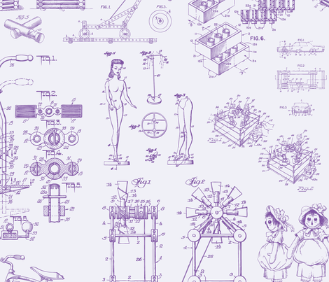 Patent Drawings - Toys (purple) fabric by studiofibonacci on Spoonflower - custom fabric