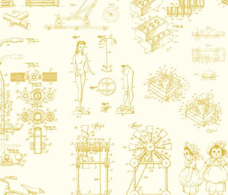 Patent Drawings - Toys (yellow) fabric by studiofibonacci on Spoonflower - custom fabric