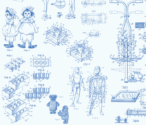 Patent Drawings - Toys (blue) - paper fabric by studiofibonacci on Spoonflower - custom fabric