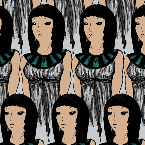 Girl in Silver fabric by pond_ripple on Spoonflower - custom fabric