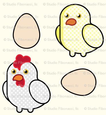 Pop Art Chickens - (6in)