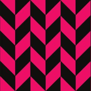 Black and Pink Herringbone