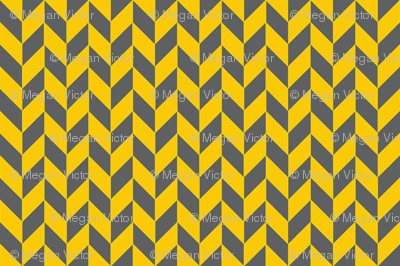 Small Gray and Yellow Herringbone
