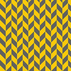 Small Gray and Yellow Herringbone