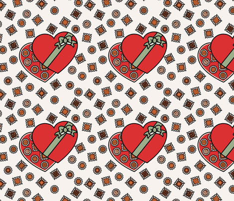 Chocolate Confections (red box) fabric by studiofibonacci on Spoonflower - custom fabric