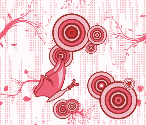 Swirly Butterfly (Red) fabric by studiofibonacci on Spoonflower - custom fabric
