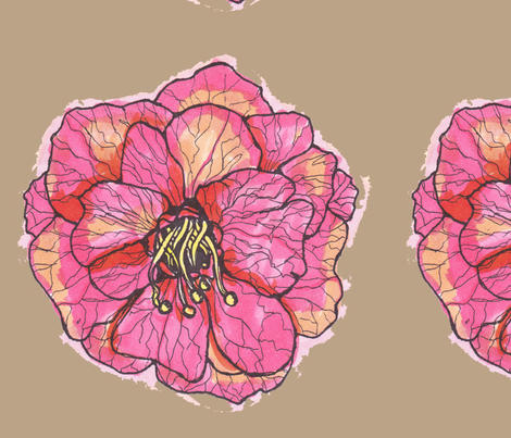 Pink Rose on Tan Background fabric by artthatmoves on Spoonflower - custom fabric