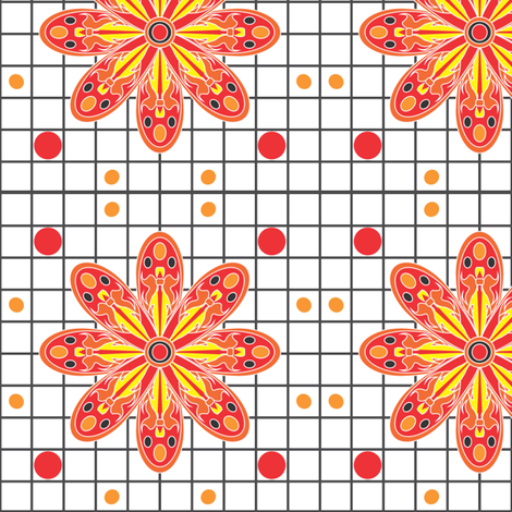 RedTribal_Flame_flower fabric by michelle_zollinger_tams on Spoonflower - custom fabric