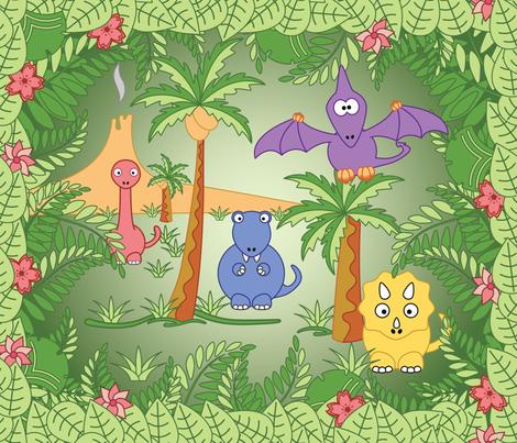 Jungle Dinosaurs fabric by studiofibonacci on Spoonflower - custom fabric