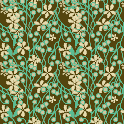 Wildwood Floral in brown and aqua fabric by joanmclemore on Spoonflower - custom fabric