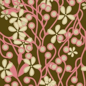 Wildwood Floral in brown and pink