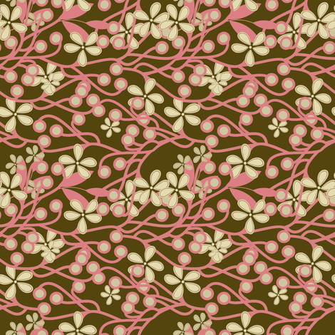 Wildwood in brown and pink fabric by joanmclemore on Spoonflower - custom fabric