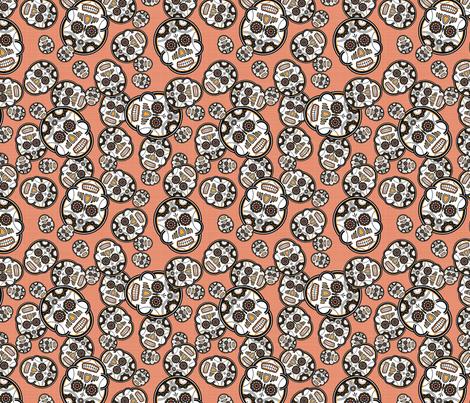 Sugar Skulls - Red fabric by studiofibonacci on Spoonflower - custom fabric
