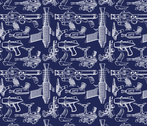 Ray Gun Revival (Navy Blue) (8x8) fabric by studiofibonacci on Spoonflower - custom fabric
