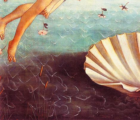 Botticelli - The Birth of Venus (1486) (54in) fabric by studiofibonacci on Spoonflower - custom fabric