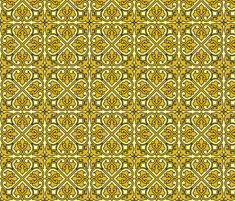 Victorian Ornament (yellow) fabric by studiofibonacci on Spoonflower - custom fabric