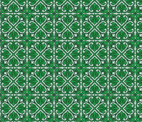 Victorian Ornament (green) fabric by studiofibonacci on Spoonflower - custom fabric