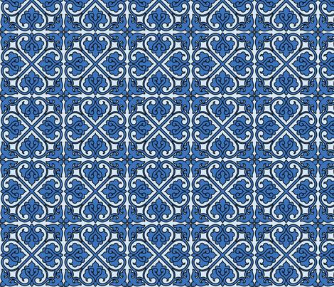 Victorian Ornament (blue) fabric by studiofibonacci on Spoonflower - custom fabric