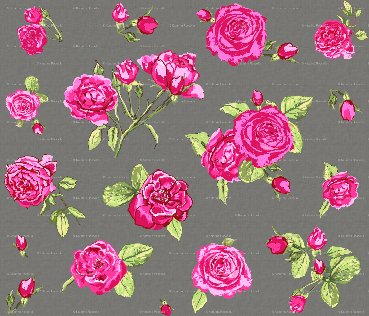 Shabby Chic Roses Grey Larger Scale Wallpaper Katarina Spoonflower