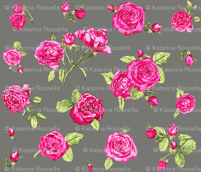 shabby chic roses grey larger scale