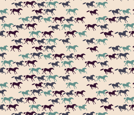 wild horses - multi blue fabric by babysisterrae on Spoonflower - custom fabric