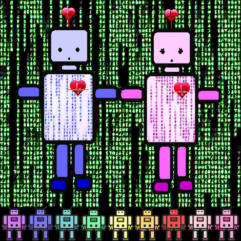 robot love fabric by krs_expressions on Spoonflower - custom fabric