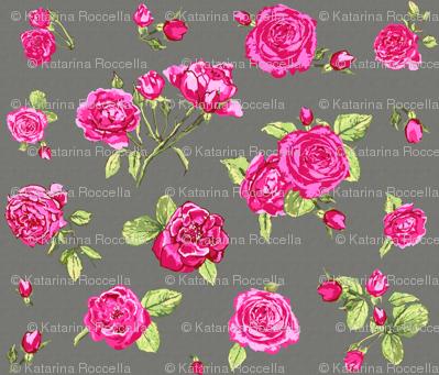 shabby chic roses grey
