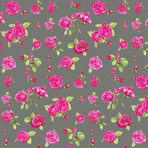 shabby chic roses grey
