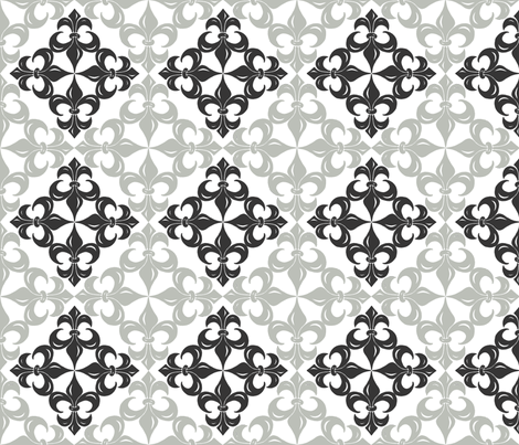 Fleur-de-Lis pattern - black and grey fabric by martaharvey on Spoonflower - custom fabric
