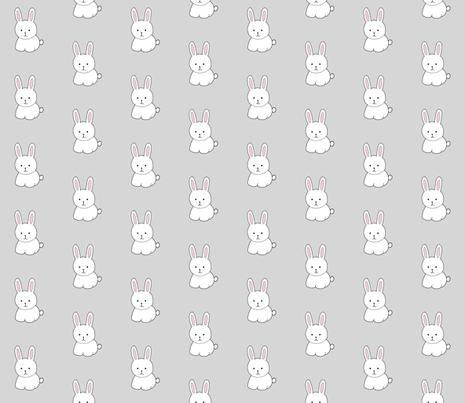Cottontail in Gray fabric by gwennypenny on Spoonflower - custom fabric