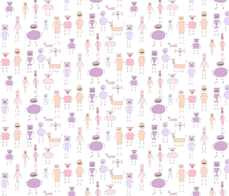 mo-bots pastel warm fabric by raccoonhedgehog on Spoonflower - custom fabric