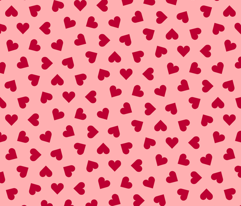 lipstick red hearts on  pink fabric by victorialasher on Spoonflower - custom fabric