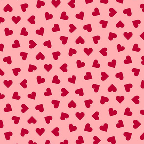 lipstick red hearts on  pink