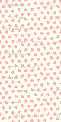 pink hearts on cream