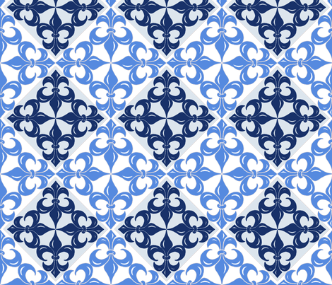 Fleur-de-Lis pattern in blues fabric by martaharvey on Spoonflower - custom fabric