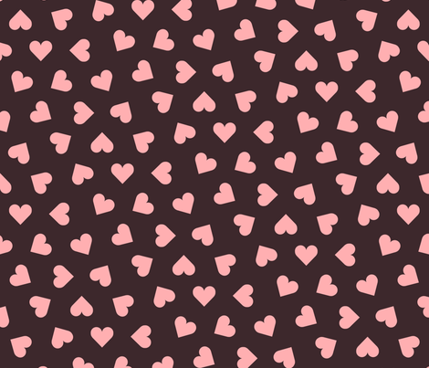1_inch_scattered_pink_hearts_on_ink fabric by victorialasher on Spoonflower - custom fabric