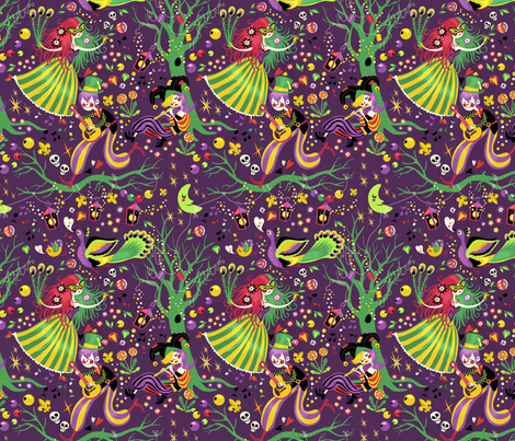 Mardi Gras Carnival Night fabric by irrimiri on Spoonflower - custom fabric