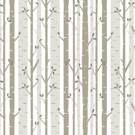 Beautiful Birch Tree Fabric wallpaper - bartlett&craft - Spoonflower DM79