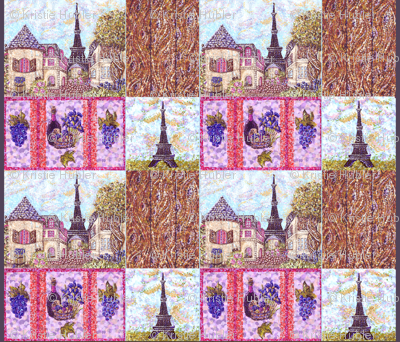 "Paris inspired pointillisms with landscape, wood planks, grapes and wine fabric design 42x36"" new 2"