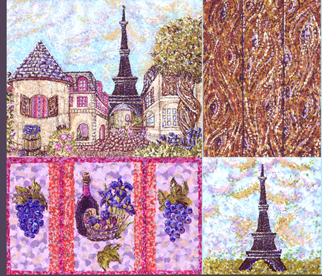 "Paris inspired pointillisms with landscape, wood planks, grapes and wine fabric design 42x36"" new 2 fabric by fabricatedframes on Spoonflower - custom fabric"