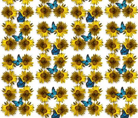 sunflower_2_with_butterflies fabric by tat1 on Spoonflower - custom fabric