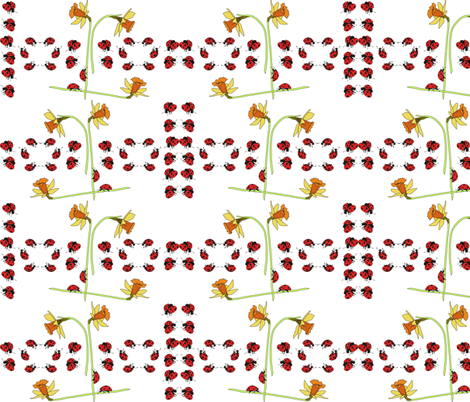 daffodil_and_lady_beetle fabric by tat1 on Spoonflower - custom fabric